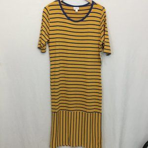 NWT LuLaRoe Julia Dress Mustard Blue Stripes XL